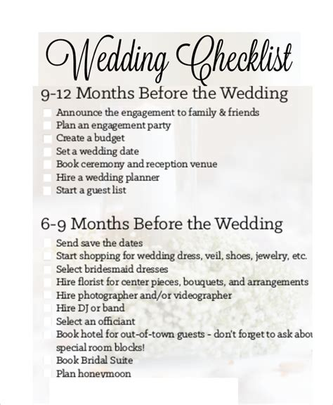 Wedding Reception Checklist Template by Simple Wedding Checklist 23 Free Word Pdf Documents