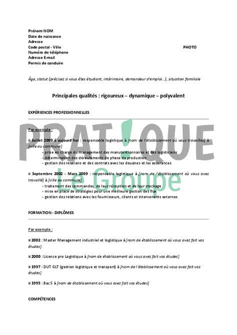Exemple De Lettre De Motivation Responsable Logistique modele cv responsable logistique gratuit cv anonyme