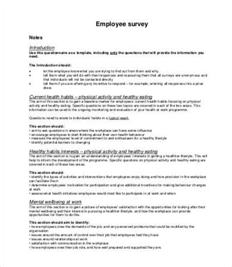 printable survey template 25 free word pdf documents
