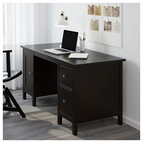 Hemnes Desk Black Brown 155x65 Cm Ikea Desk Black