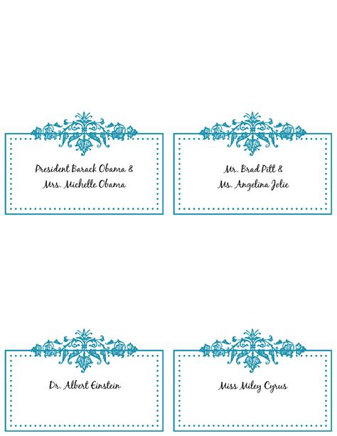 printable name place cards template 6 best images of free printable placecards wedding place