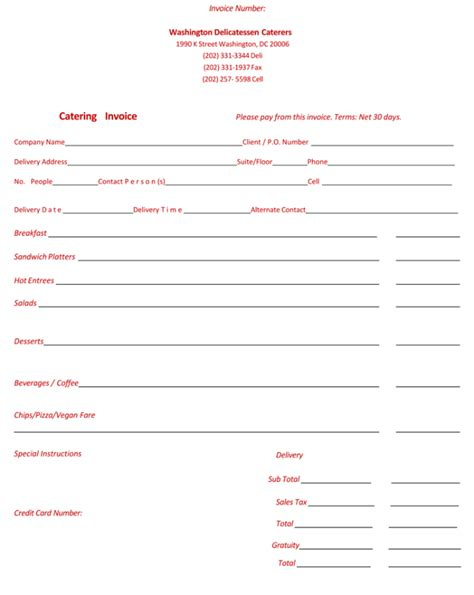 5 Best Catering Invoice Templates For Decorative Business Free Catering Invoice Template Word