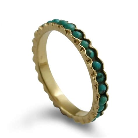 Turquoise Infinity Ring 14K Yellow Gold, Stackable