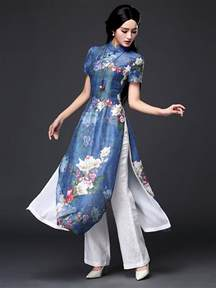 floral printed blue silk linen ao dai traditional