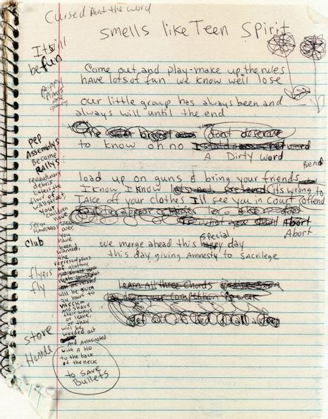 testo dumb nirvana in their own write handwritten lyrics by nick cave david