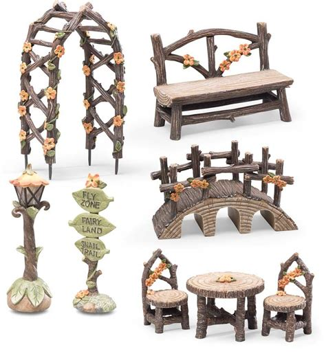 bridge and chairs set flyzone fairyland 8 piece fairy garden accessory set