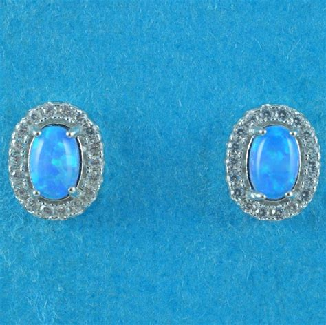 925 blue opal oval stud earrings opal oval silver clear cz blue opal oval stud earrings on