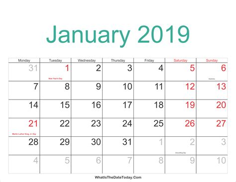 Calendar 2019 January January 2019 Calendar With Holidays 2018 Calendar Printable