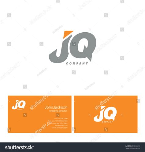 q card template j q letters logo business card stock vector 518260279