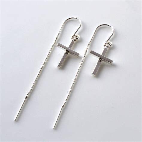 Cross Sterling Silver Earring sterling silver cross earrings by martha jackson sterling