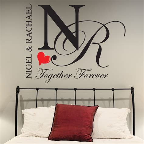 bedroom wall stickers bedroom wall stickers personalised together forever decals