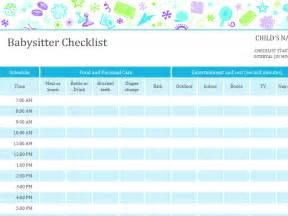 babysitter checklist with schedule office templates