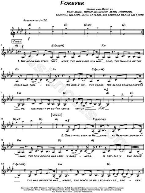 printable lyrics to forever by kari jobe kari jobe quot forever quot sheet music leadsheet in ab major