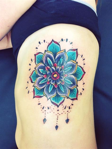 side flower tattoos mandala side tattoos