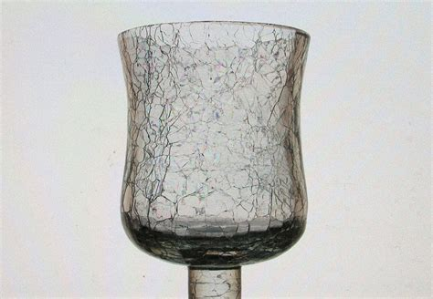 home interiors peg votive candle holder crackle glass 4 25