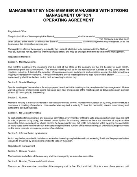 manager managed llc operating agreement template business operating agreement free limited liability