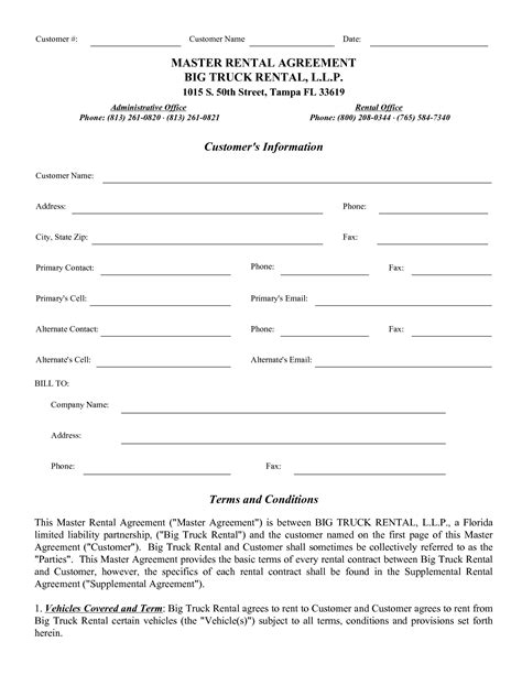 truck rental agreement template best photos of commercial truck lease agreement form
