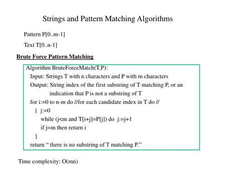 complexity of pattern matching algorithm ppt strings and pattern matching algorithms powerpoint