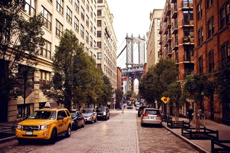 House Building Plans And Prices Manhattan Bridge From Washington Street Stock Photo