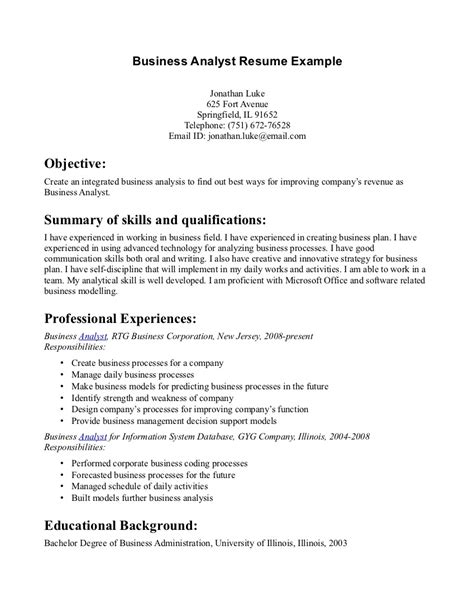 Sle Resume For Business Development Analyst Sle Resume For Business 28 Images Sle Resume For