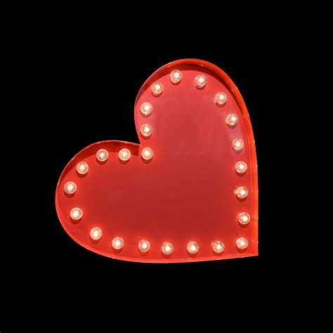 single red led light battery powered marquee light red heart shape led sign battery