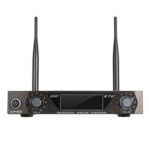 Mic Wireless Doubel Sound Uhf Dielngkapi Lcd Display lcd dual channel uhf wireless held 2 handheld microphone mic system kit alex nld