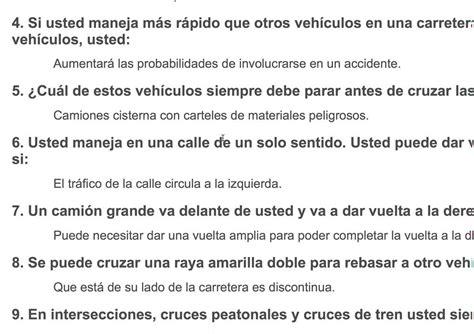 preguntas y respuestas del examen de conducir en washington muestra del examen escrito para licencia de manejar clase