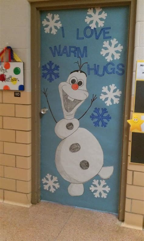decorating front doors or classroom doors for christmas winter door decoration i olaf classroom doors olaf doors and decoration