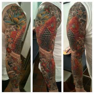 finished 2 koi carp cover up tattoo sleeve liverpool