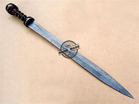 Handmade Custom Swords - custom handmade damascus sword solid wood handle