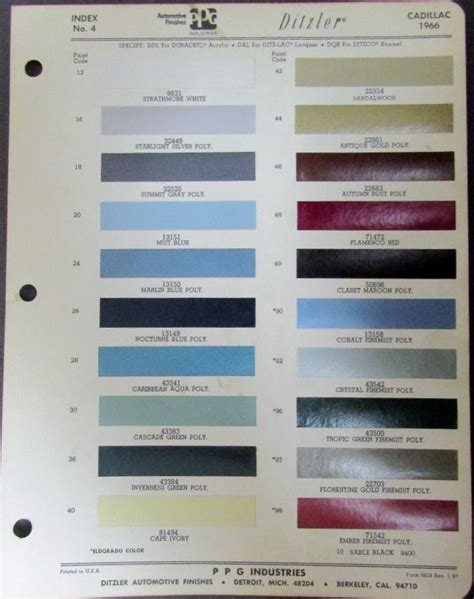 cadillac paint colors ideas 1976 cadillac exterior colors paint chips sales brochure 1976
