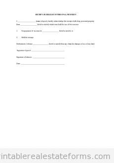 receipt and release form template free receipt or release of personal property printable