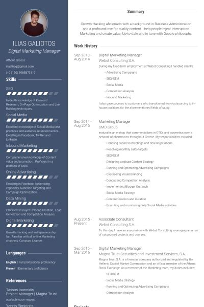 digital marketing manager resume sles visualcv resume