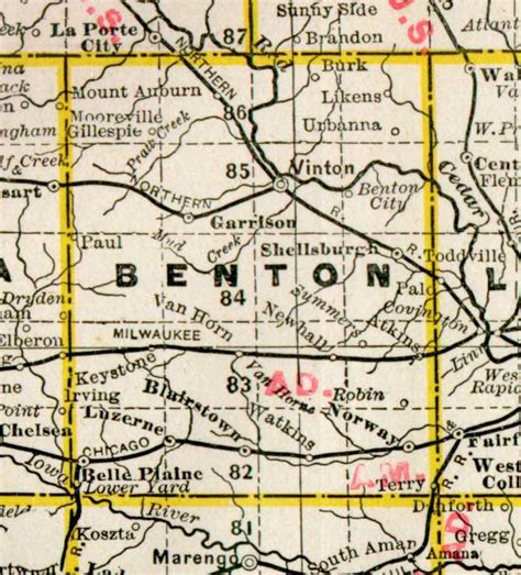 Benton County Search 1890 Map Of Benton County Iowa