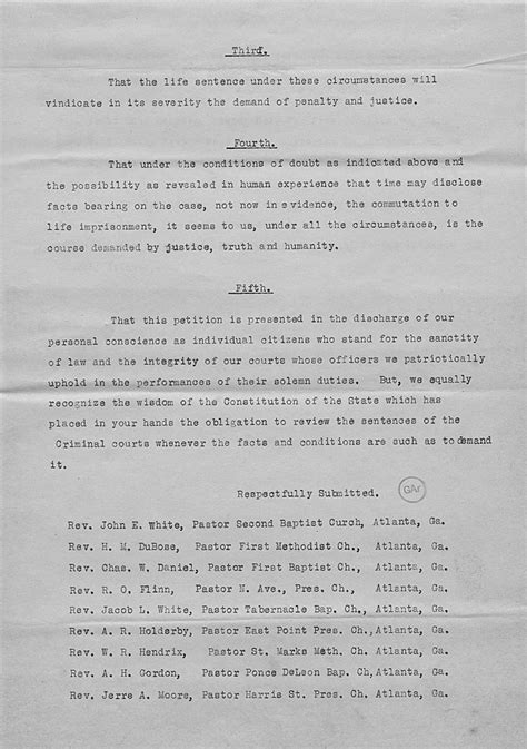 Sle Petition Letter For Pardon To Governor Leo Frank Clemency File