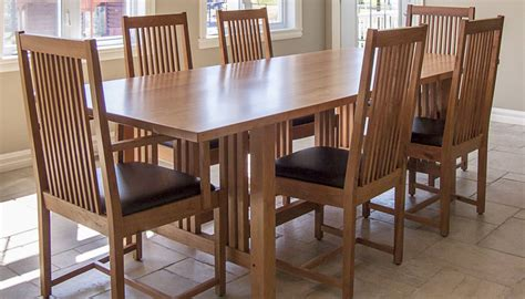mission style dining room set 7 pieces cherry mission style dining room set with dining table and chairs with black