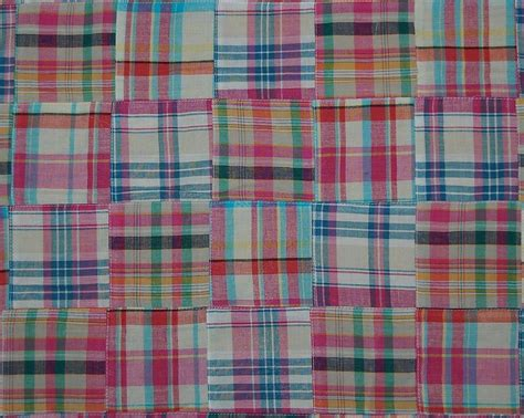 Madras Patchwork Fabric - three chickadees cotton patchwork madras fabric by the