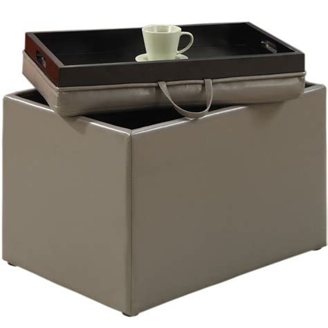 grey leather storage ottoman gray leather storage ottoman