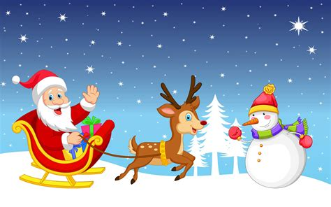 snowman and reindeer santa claus with snowman and rudolph the reindeer on