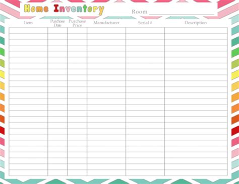 Diy Home Sweet Home Home Inventory Printable Printable Inventory List Template