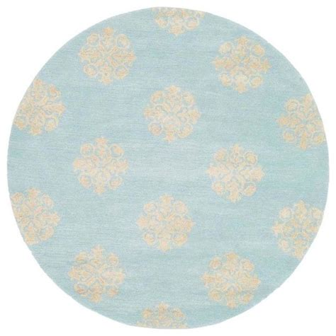 Round Rug In Turquoise 6 Ft Contemporary Area Rugs 6 Foot Rugs