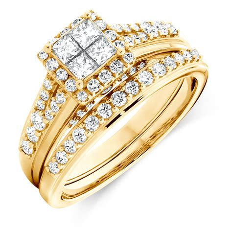 Set Perhiasan Gold 1 bridal set with 1 carat tw of diamonds in 14kt yellow gold