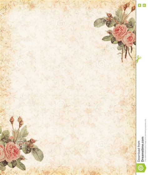 vintage rose stationary with blank area for text stock