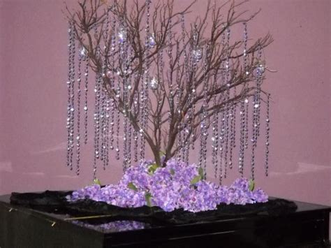 tree centerpieces wedding tree centerpeices with hanging crystals weddingbee