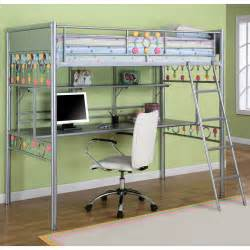 desk bunk beds powell bauble metal loft bed with study desk