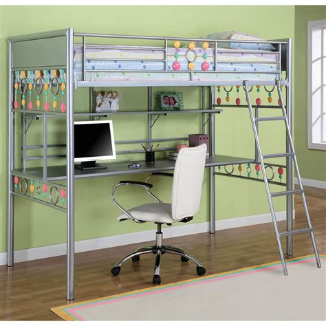 girls bunk bed with desk powell bauble girls twin metal loft bed with study desk