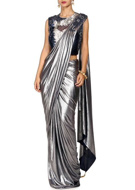 Ready Dress silver ready to wear saree with embroidered blouse