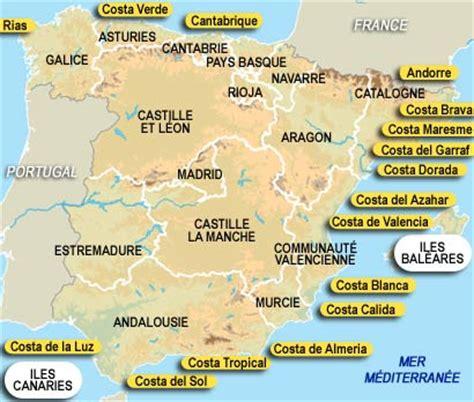 Carte Espagne Costa Arts et Voyages
