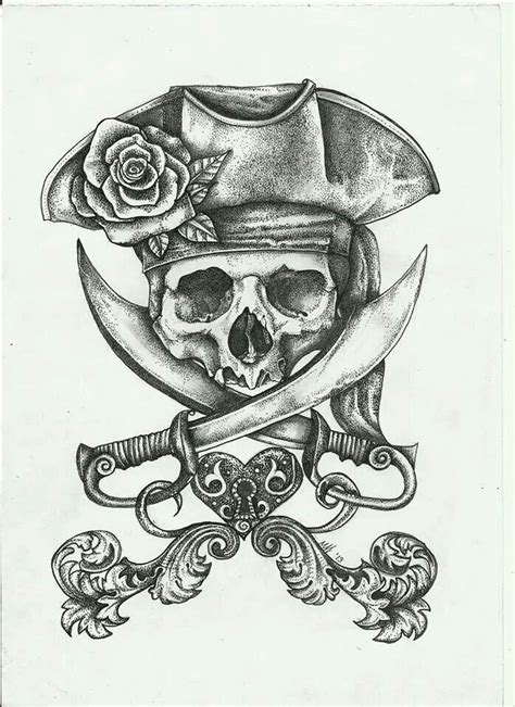 pirate skull tattoo designs pretty jolly roger tattoos