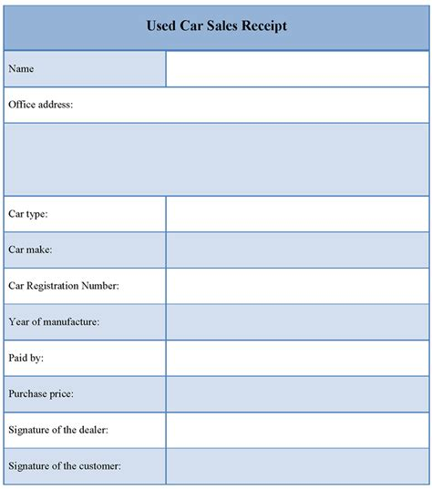 receipt template for used car sales template of used car